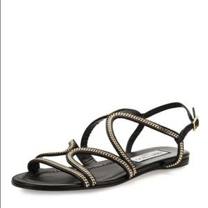 Jimmy Choo Nickel Chain-Trim Flat Black